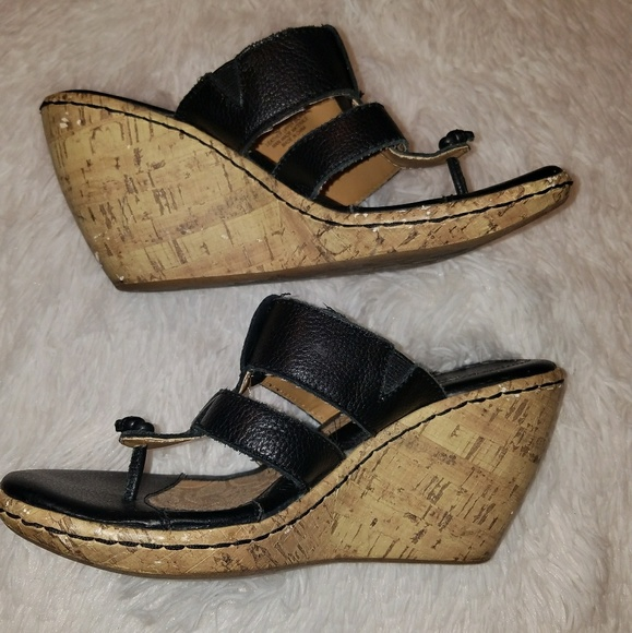 Born Black Wedge Sandals Size 8